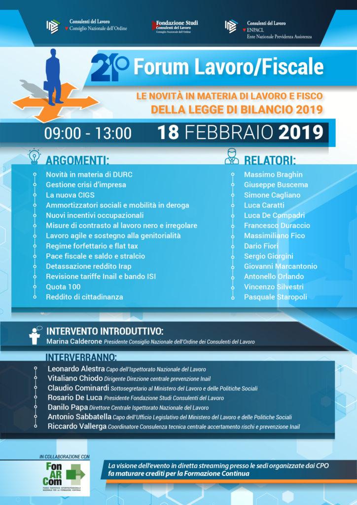 21° FORUM LAVORO/FISCALE DEL 18 FEBBRAIO 2019